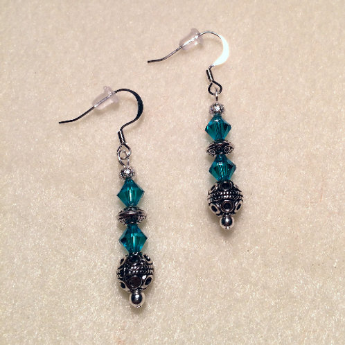 Blue Swarovski Dangle Earrings