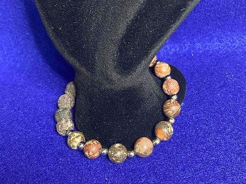 Picture Jasper & Lava/Diffuser Bead Stretch Bracelet