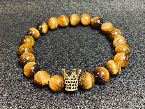 Men's Natural Stone Bracelet with Pave Crown