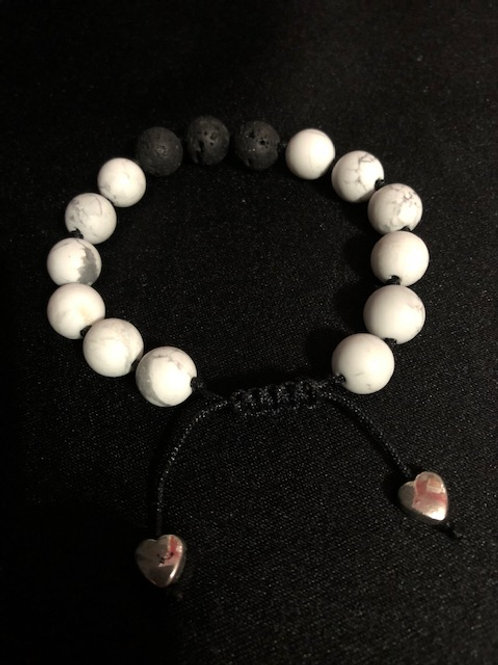 White and Grey Adjustable Bracelet