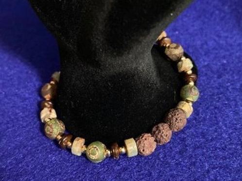 Jasper & Agate w/Lava/Diffuser Beads Stretch Bracelet
