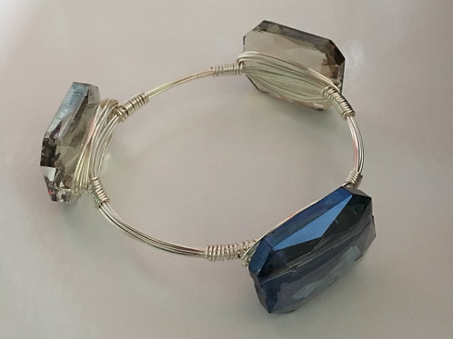 Chinese Crystal Silver Wire-Wrapped Stacking Bangle Bracelet