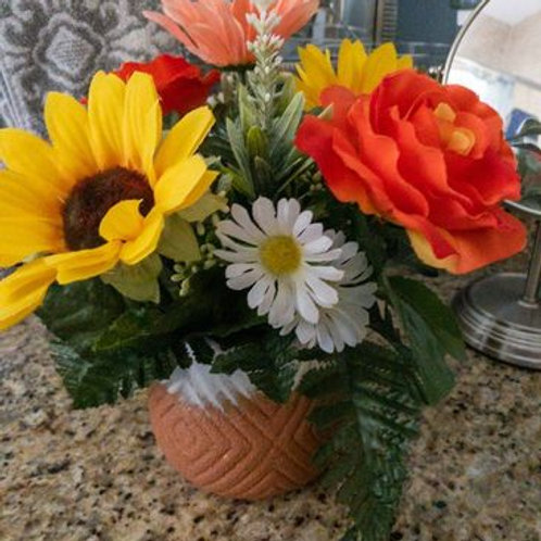 Sunny Day Silk Floral Centerpiece - 12 inches high