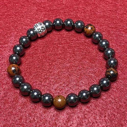 Men or Women's Hematite & Mahogany Obsidian Stretch Bracelet
