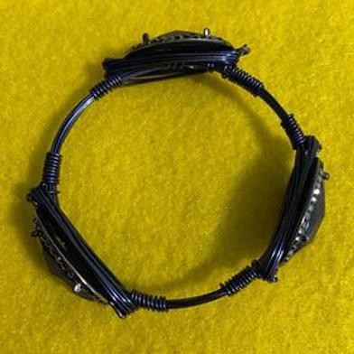 Faux Blue Agate Wrapped Bracelet