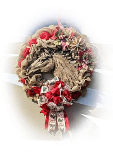 Burlap Horse Wreath - Can be designed as all-season