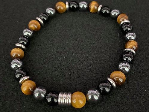 Men's Tiger Eye, Hematite, and Stainless Bracelet