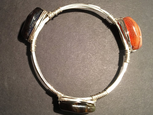 Agate Wire-Wrapped Silver Stacking Bangle Bracelet