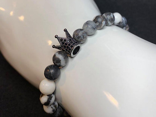 Men's Black & White Onyx Marble (natural) Bracelet with Pave Crown
