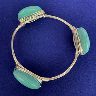 """Blue Magnesite """"Turquoise"""" silver wire-wrapped stacking bracelet"""