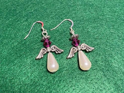 Pretty in Pink Angel Earrings
