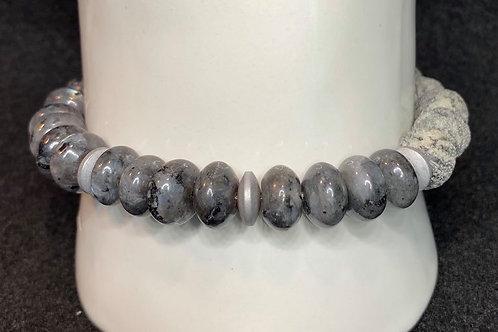 Men's Black Labradorite Larvikite Gemstone & Lava/Diffuser  Bead