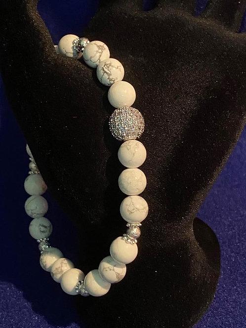 Howlite & Pave Stretch Bracelet