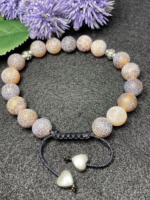 Brown crackle beaded adjustable bracelet