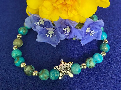 Sea and Starfish - Jasper Stretch Bracelet