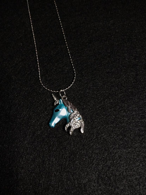 """Blue Unicorn 925 Sterling Silver Necklace - 16"""""""