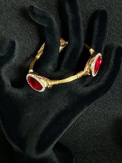 Bangle Wrapped Bracelet with Red Monet Gemstones