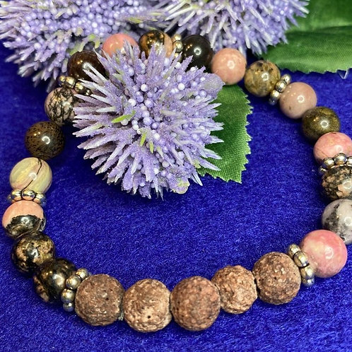 Crazy Lace Agate Gemstones & Brown Lava/Diffuser  Beads Stretch Bracelet