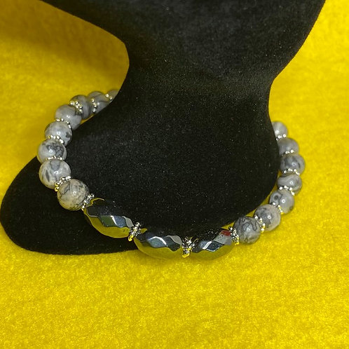 Picture Jasper & Hematite Stretch Bracelet