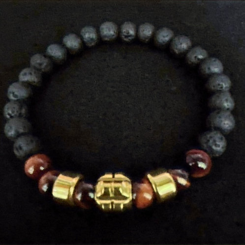 Men's Tiger Eye and Lava/Diffuser Bead Bracelet