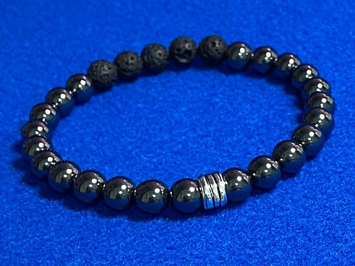 Men's 8mm Hematite & Lava/Diffuser Bead Stretch Bracelet