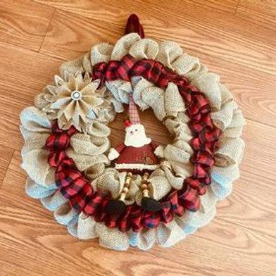 """Burlap Santa & Poinsettia Wreath 24"""""""