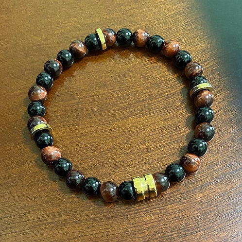 Men's Red Tiger Eye Stretch Bracelet