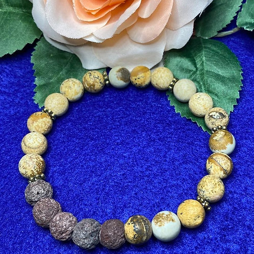 Tan and Brown Stretch Bracelet