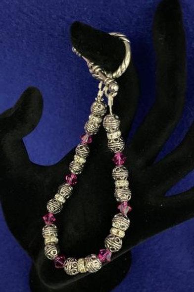 Fuchsia and Silver Toggle Bracelet