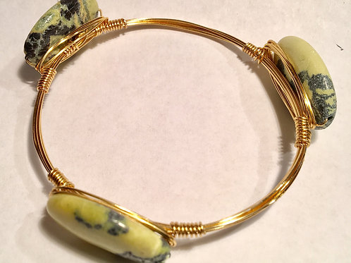 Real stone gold wire-wrapped bangle bracelet