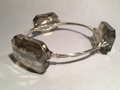 Chinese Crystal Smokey Grey Bangle