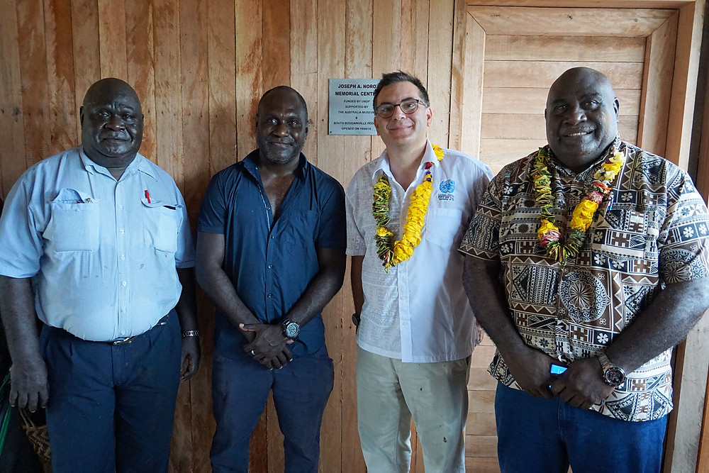 Left to right: Regional Member for Bougainville Mr. Joseph Lera, Dr. Jeffrey Noro, Mr. Rui Flores representing UNDP and South Bougainville and Opposition Leader MP Hon Timothy Masiu