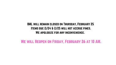 BML Will be closed on Wednesday, Februar