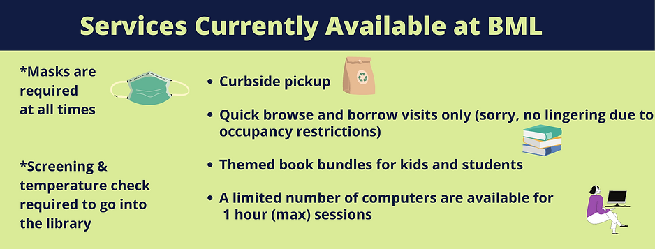 Must wear mask and be screened to enter.  Curbside pickup, quick browse and borrow visits allowed, themed book bundles and a limited number of computers available for one hour use.