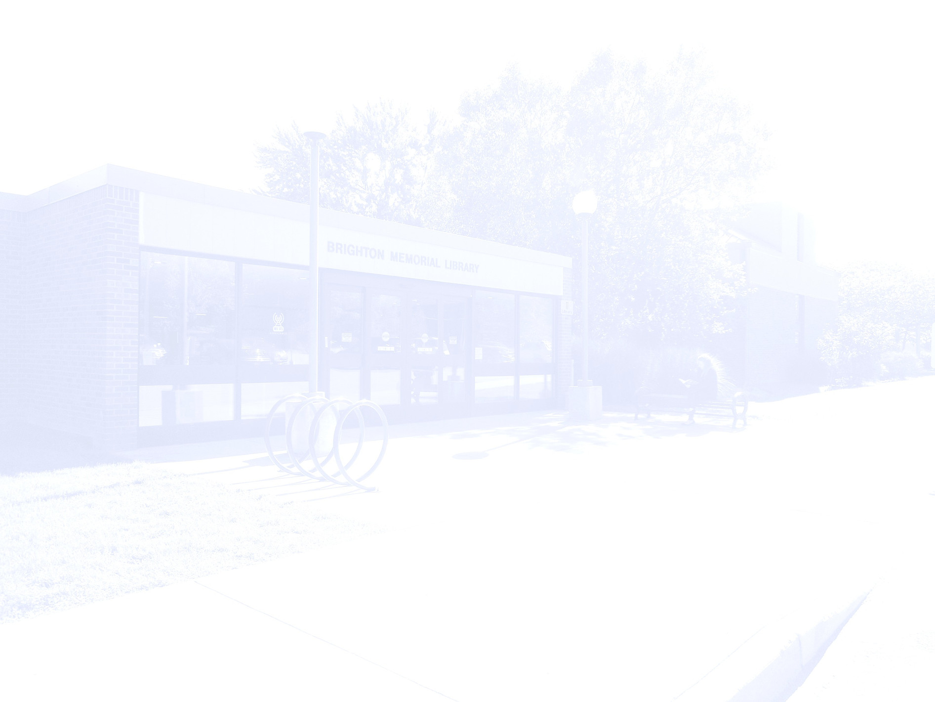 faint image of the front of the library
