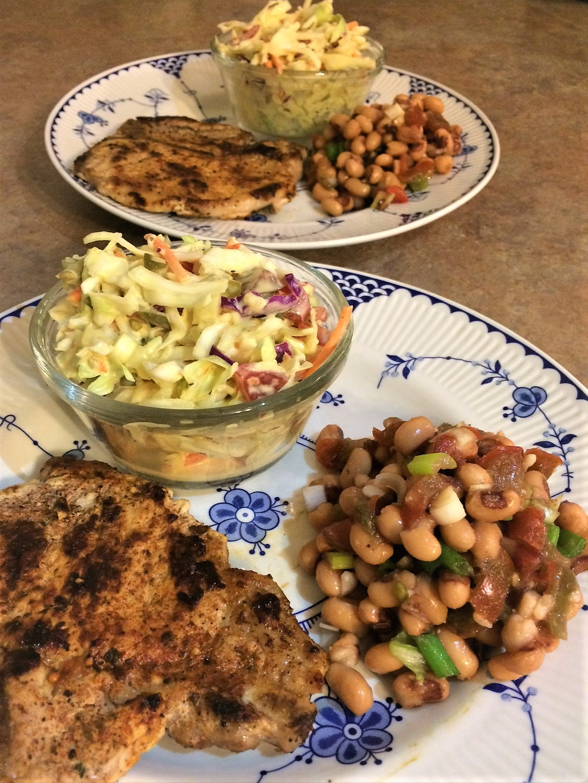 pork chops, coleslaw and Mississippi caviar