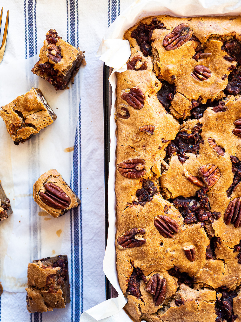 red bean cake with pecans