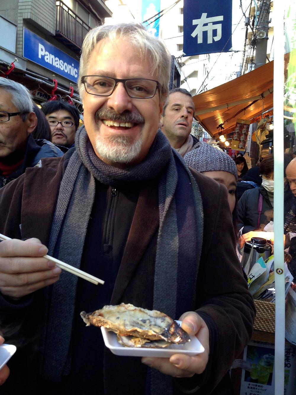Writer eating food in Japan
