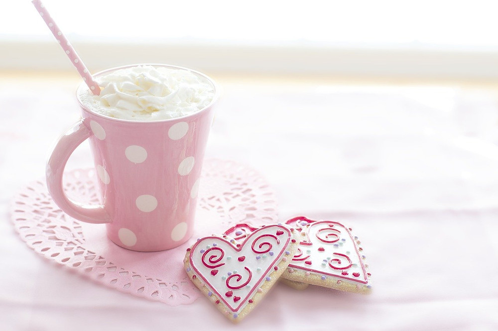 coffee and cookies for Valentine in pink