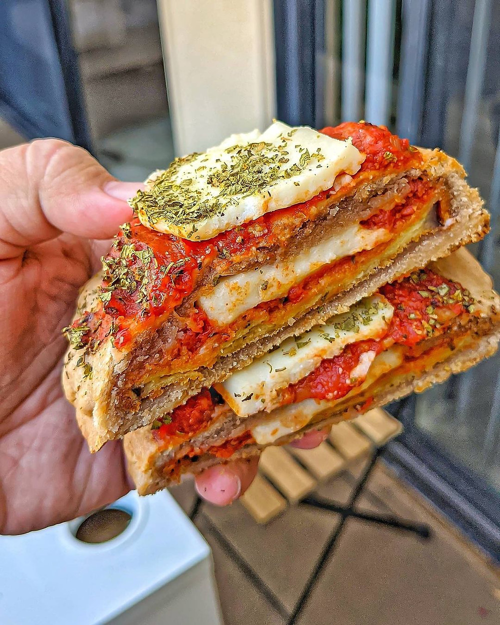 double-stacked eggplant parmesan sandwich