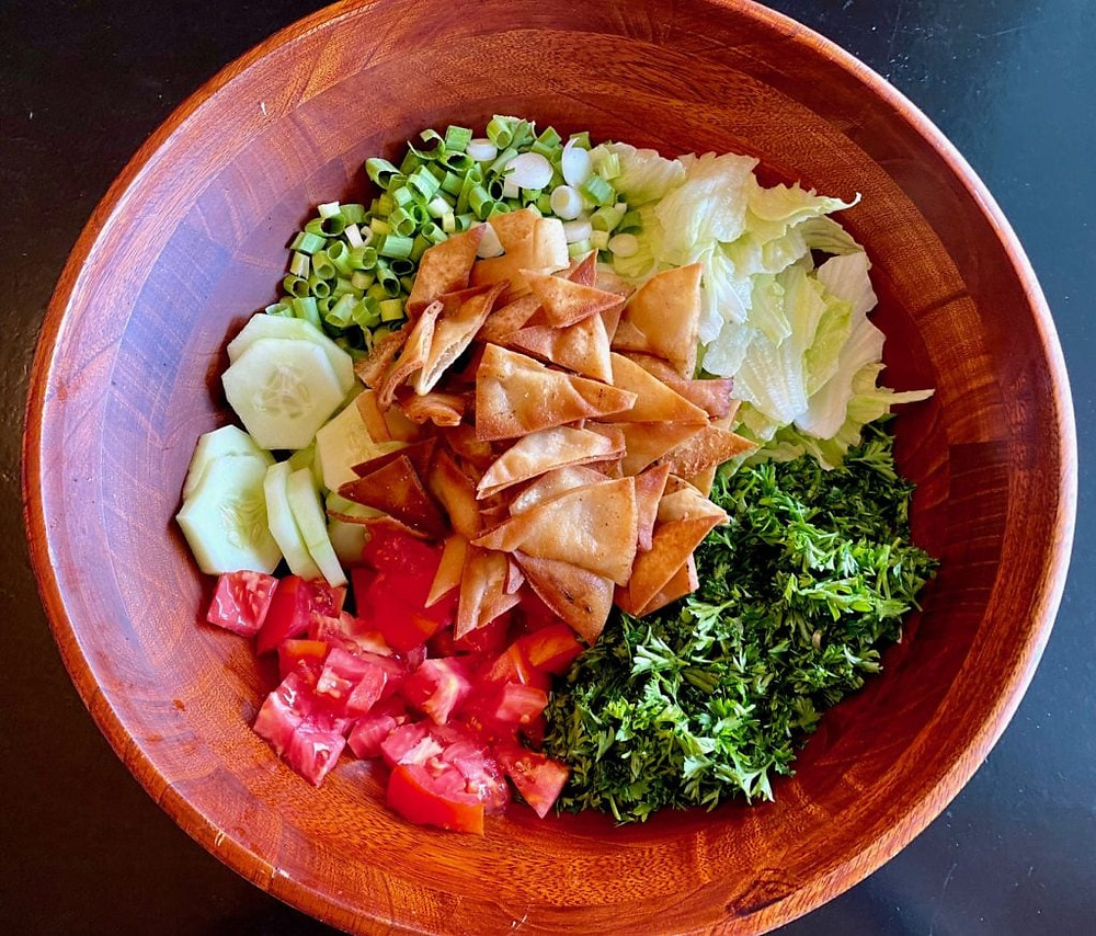 salad in a wooden bowl