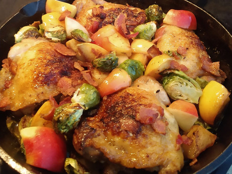 Recipe: Braised Chicken Thighs with Apples and Bacon