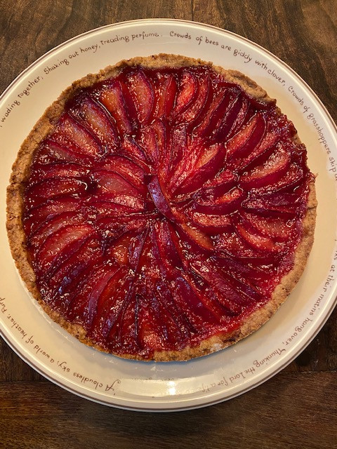 plum tart on plate