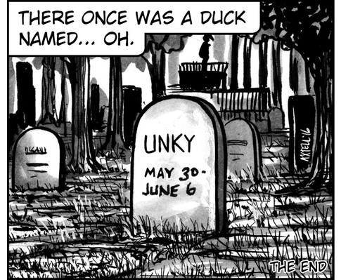 While my commission continues, let's check in on our perpetually doomed duck to see how he's doing after that lightning strike…