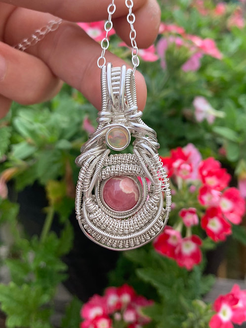 Rhodochrosite & Fire Opal Pendant