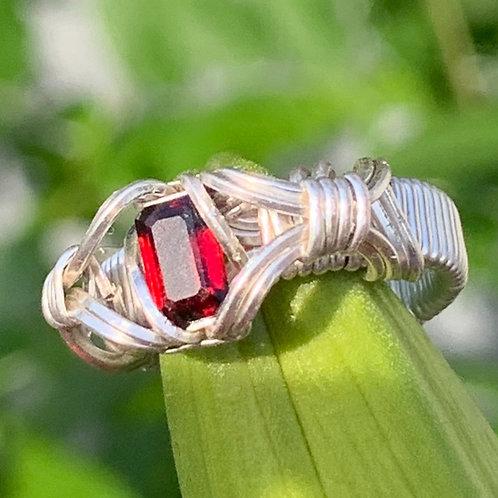 Garnet in Sterling Ring