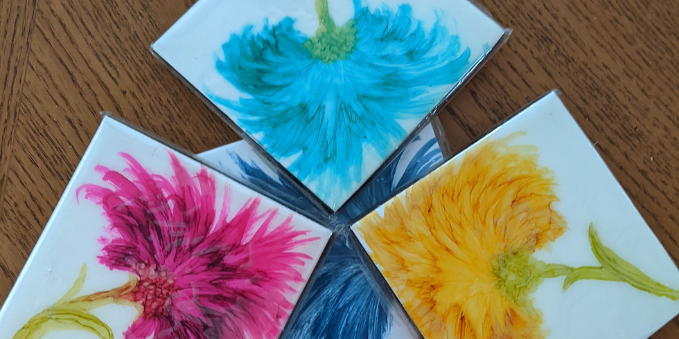 Paint Night - Set of 4 alcohol ink tiles/coasters