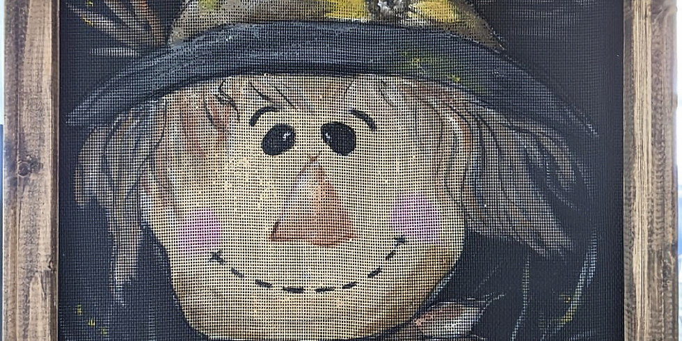 Paint Night - Scarecrow on screened stained wood