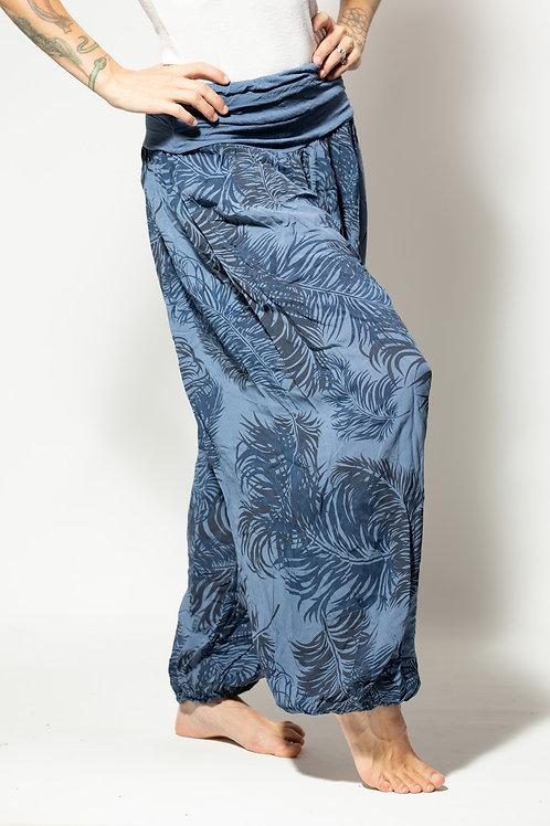 Harem Yoga Pants - Light blue/Med blue pattern