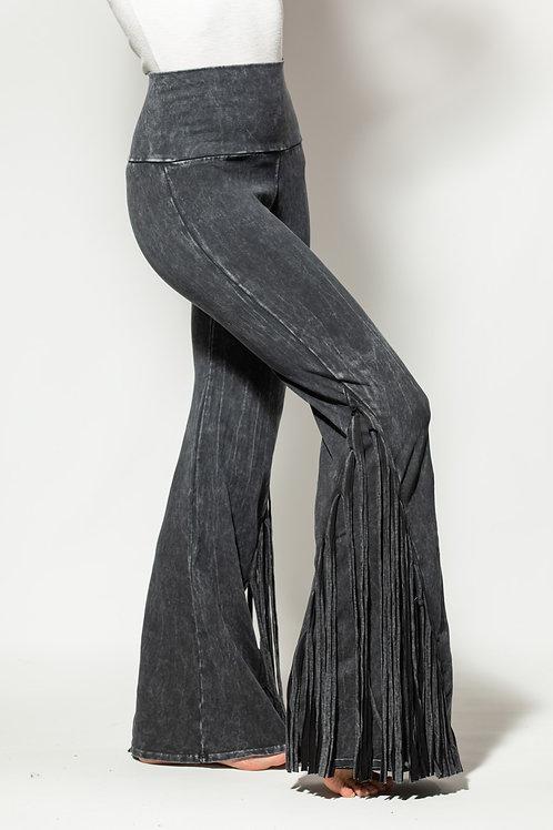 Mineral washed fringe on the side foldover yoga pants